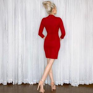 Lulu's Dresses - Lulu Red Long Sleeve Fitted Date Night Mini Dress
